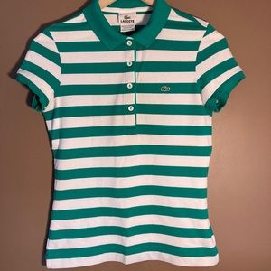 Lacoste green white stripes polo